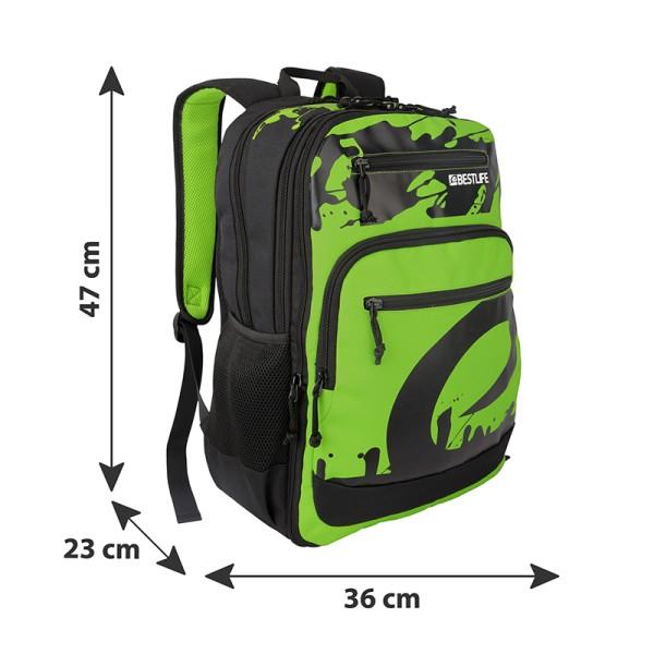 BESTLIFE Rucksack MERX grün, schwarz