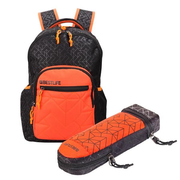 BESTLIFE Rucksack JUST schwarz/orange + Mäppchen