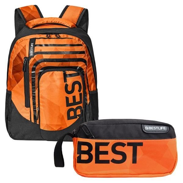 BESTLIFE Rucksack BREVIS orange + Mäppchen