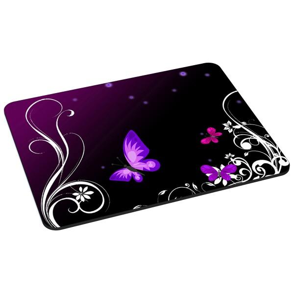 PEDEA Gaming Office Mauspad L purple butterfly mit vernähten Rändern und rutschfester Unterseite