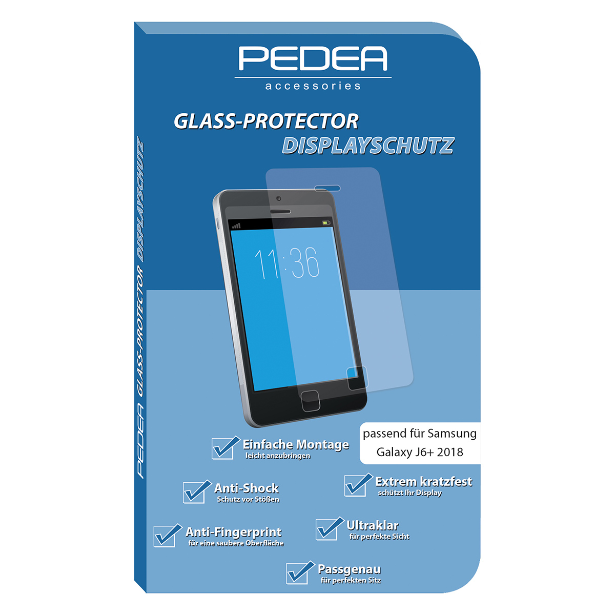 PEDEA Display-Schutzglas Samsung Galaxy J6+ 2018