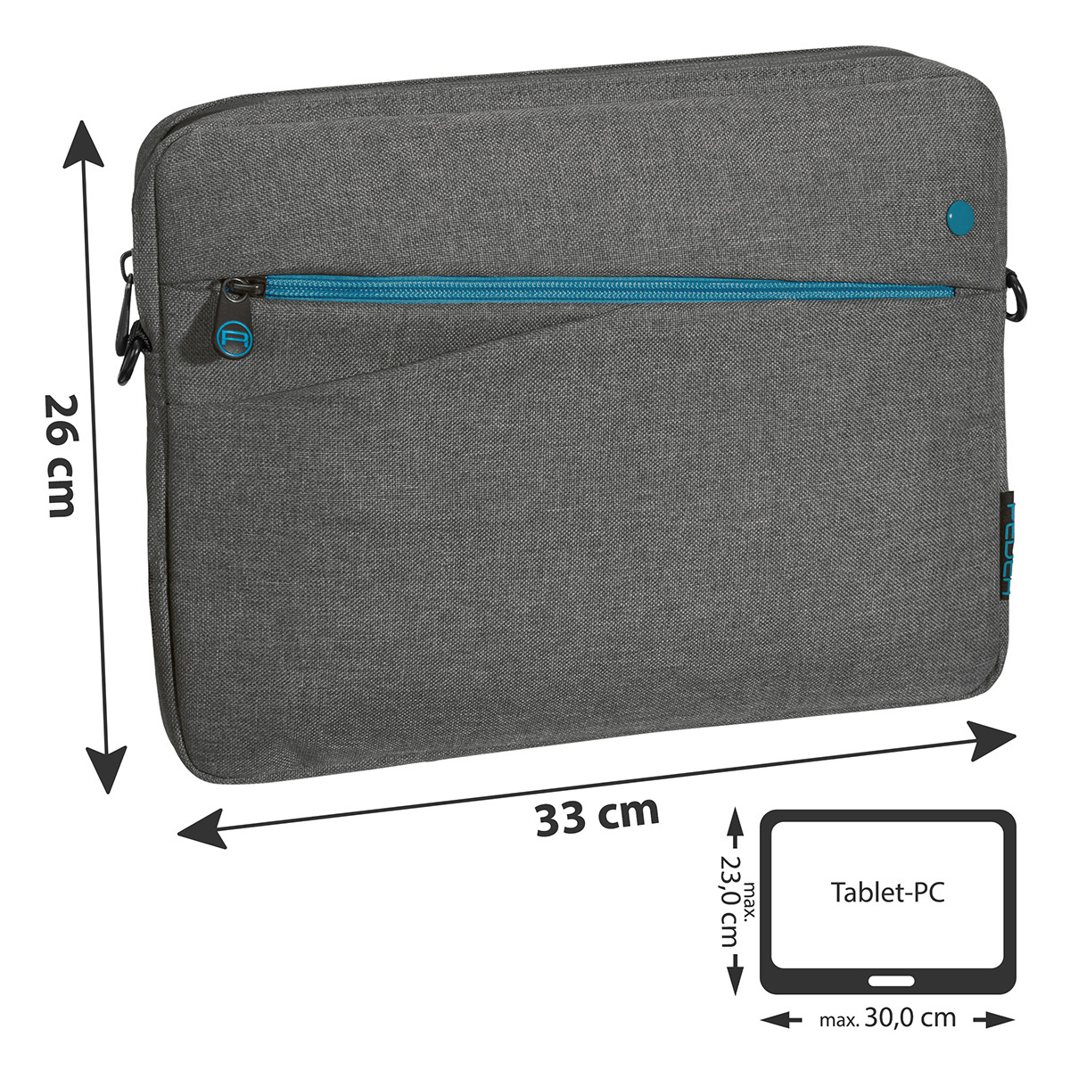 "PEDEA Tablet-Tasche 12,9"" (32,8cm) grau ""Fashion"" für iPad Pro / Surface Pro 4 / Galaxy Tab Pro S"