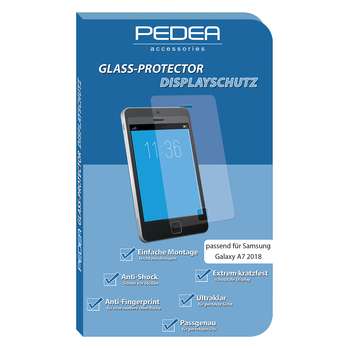 PEDEA Display-Schutzglas Samsung Galaxy A7 2018
